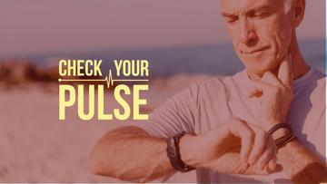Senior man checking pulse