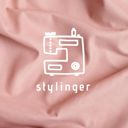 Clothes Ad with Sewing Machine Illustration Logo – шаблон для дизайну