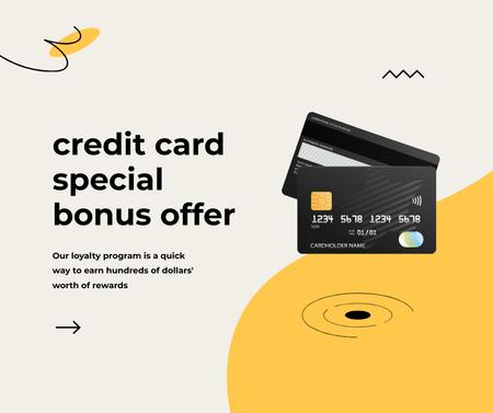 Designvorlage Credit Card with loyalty program für Facebook