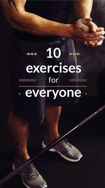 Man in Gym Lifting Barbell Instagram Story – шаблон для дизайну
