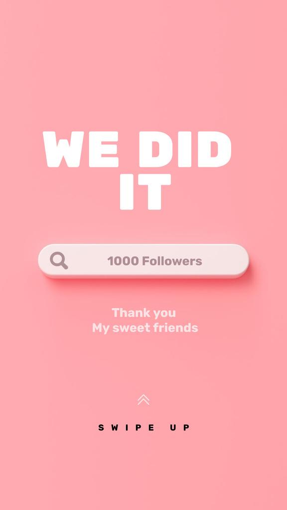 Designvorlage Thank You message to followers für Instagram Story