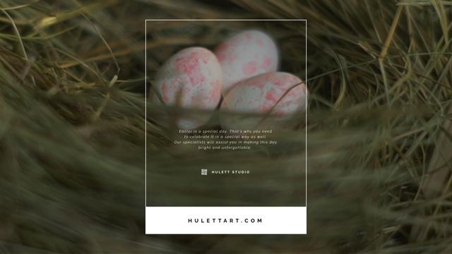 Modèle de visuel Colored Easter eggs in nest - Full HD video