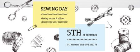Plantilla de diseño de Sewing day event Annoucement Facebook cover
