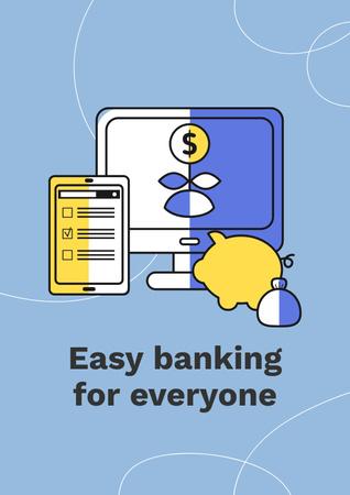 Banking Services ad with Credit Cards Poster Tasarım Şablonu