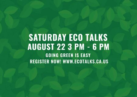 Modèle de visuel Saturday eco talks Announcement on green leaves - Postcard