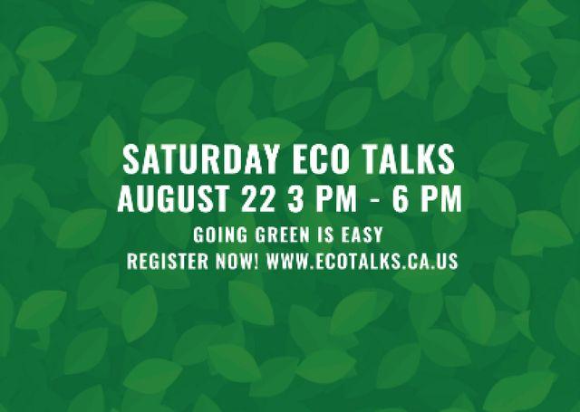 Template di design Saturday eco talks Announcement on green leaves Postcard