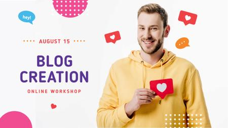 Blog Creation Online Workshop Ad with Blogger FB event cover Modelo de Design
