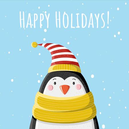 Cute winter penguin in hat Animated Post Modelo de Design