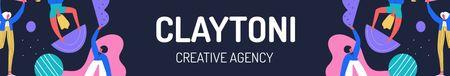 Designvorlage Creative Agency Team working together für LinkedIn Cover