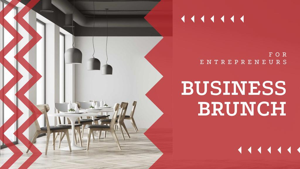 Business Brunch Announcement with Modern Office — Modelo de projeto