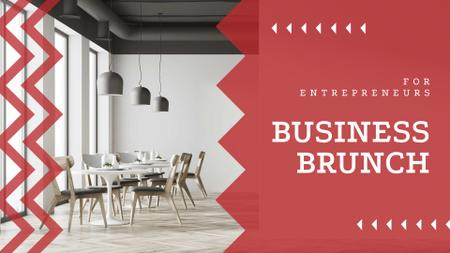 Business Brunch Announcement with Modern Office FB event coverデザインテンプレート