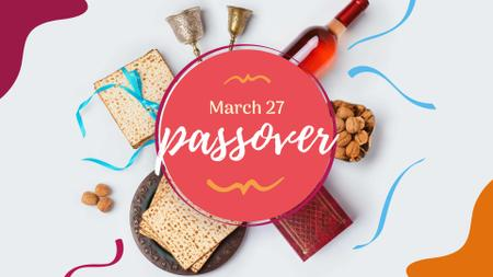 Modèle de visuel Passover Greeting with Traditional Food - FB event cover