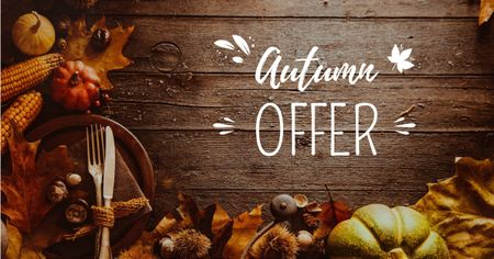 Modèle de visuel Autumn Offer with Leaves and Pumpkins - Facebook AD