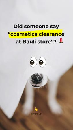 Plantilla de diseño de Beauty Store Promotion with Dog with Funny Eyes Instagram Story