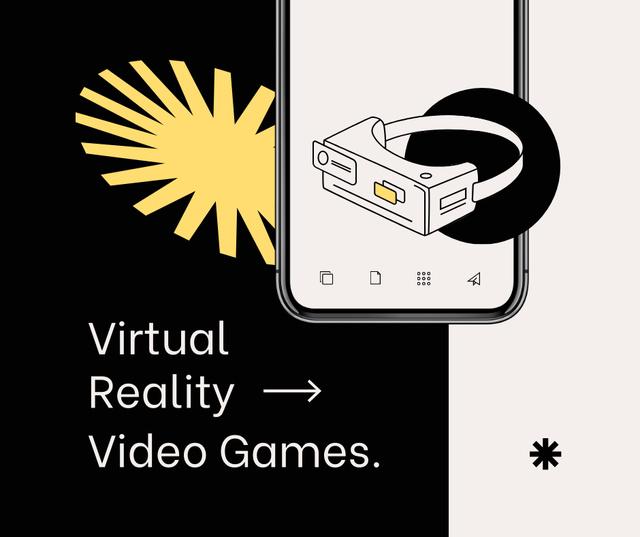 Ontwerpsjabloon van Facebook van Virtual Reality Games Ad with glasses
