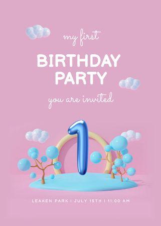 Template di design Baby Birthday Party Bright Announcement Invitation