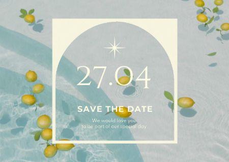 Wedding Announcement with Lemons in Water Card Modelo de Design