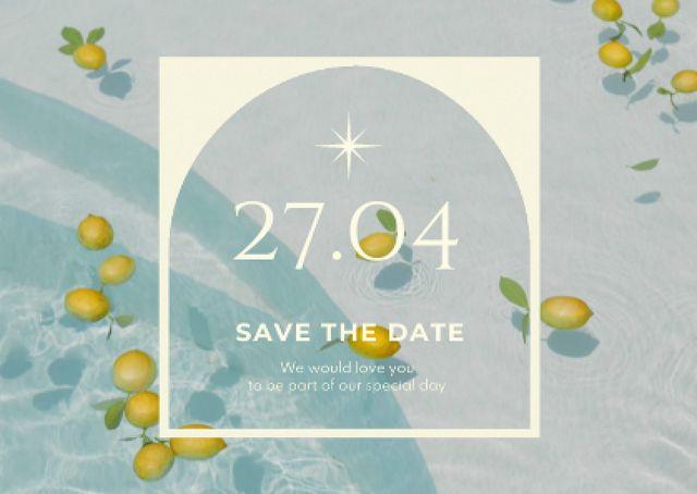 Wedding Announcement with Lemons in Water Card – шаблон для дизайна