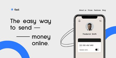 Financial Application promotion with Phone Twitter Design Template