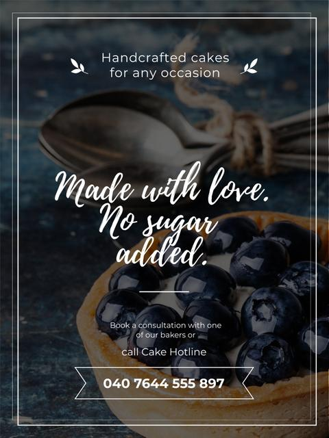 Template di design Bakery Ad with Blueberry Tart Poster US