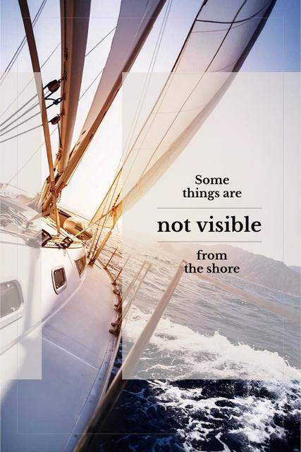 White sailing boat with inspirational quote Pinterest Modelo de Design