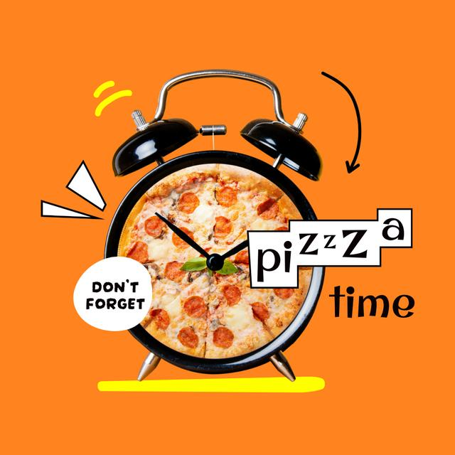 Funny Illustration of Pizza on Alarm Clock Instagram Design Template