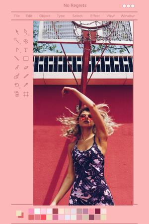 Modèle de visuel Beautiful Young Woman posing in City - Pinterest