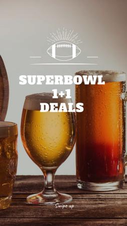 Plantilla de diseño de Super Bowl Special Offer with Beer Glasses Instagram Story