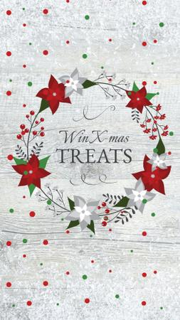 Christmas Treats Offer with Festive Wreath Instagram Story Design Template