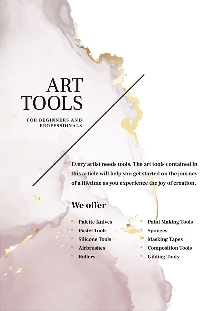 Art tools Offer with Watercolor stains — Crea un design