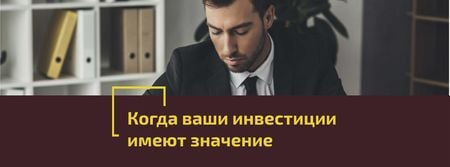Banking Services Ad Businessman working by Laptop Facebook cover – шаблон для дизайна