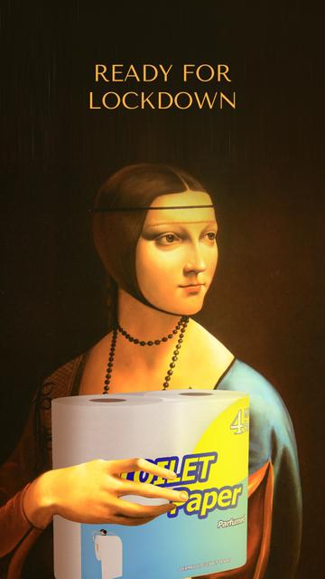 Woman with toilet paper on Renaissance painting Instagram Story – шаблон для дизайна