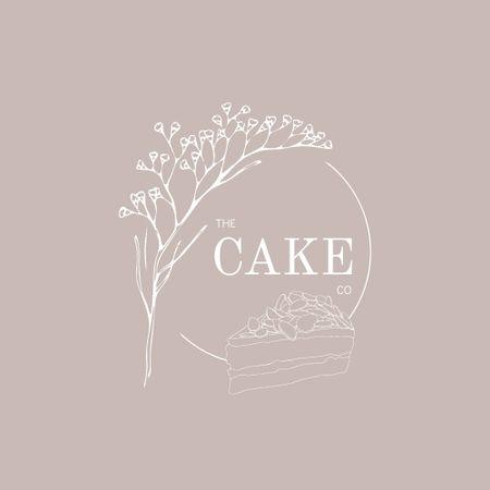 Ontwerpsjabloon van Logo van Bakery Ad with Delicious Piece of Cake