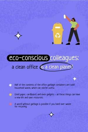 Eco Lifestyle Motivation with Woman recycle Garbage Tumblr Design Template