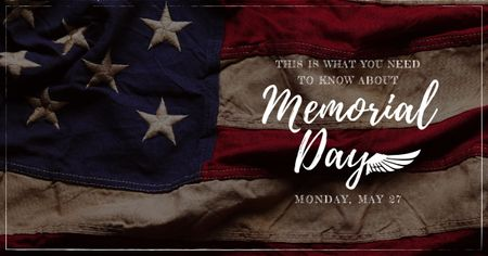 Modèle de visuel USA Memorial Day with National Flag - Facebook AD