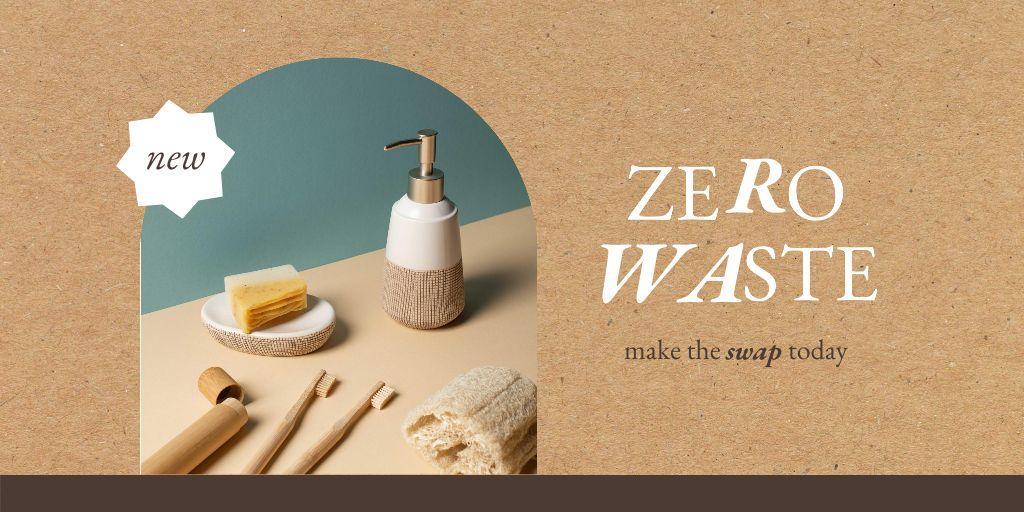 Zero Waste Concept with Bathroom Accessories Twitter Design Template