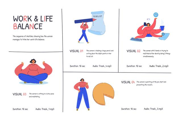 Illustrations of Work and Life balance Storyboard Design Template