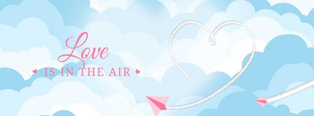 Paper plane drawing Heart in the sky Facebook Video cover Modelo de Design