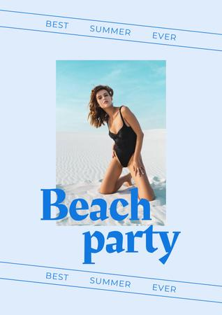 Summer Beach Party Announcement with Woman in Swimsuit Poster Design Template