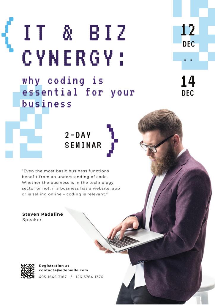 Ontwerpsjabloon van Poster van IT Conference Announcement with Man Working on Laptop