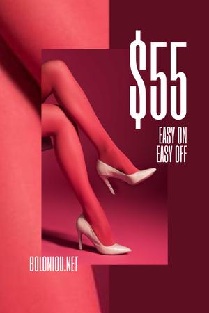 Plantilla de diseño de Fashion Sale with female legs in Pink tights Pinterest