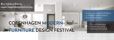 Ontwerpsjabloon van Tumblr van Furniture Festival ad with Stylish modern interior in white