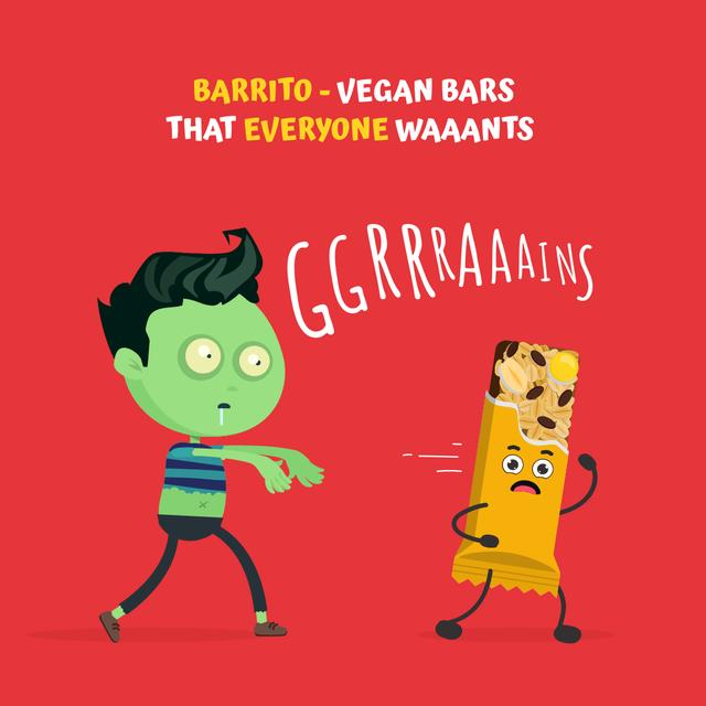 Vegan Bars Ad with Funny Zombie Instagram Tasarım Şablonu