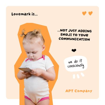 Funny Cute Baby holding Phone Instagram – шаблон для дизайна