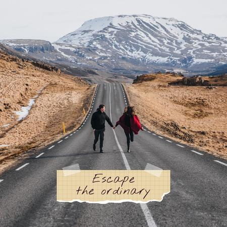 Inspirational Phrase with Couple in Mountains Instagram – шаблон для дизайну