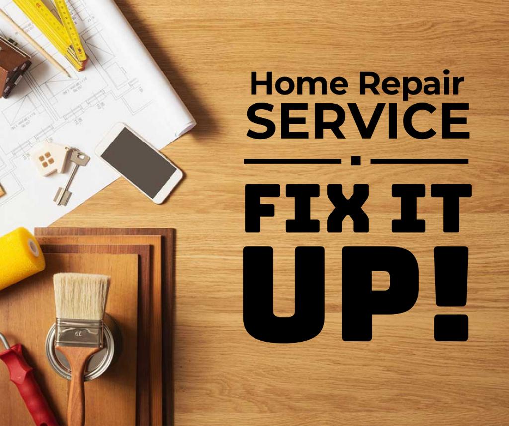 Home Repair Service Ad Tools on Table — Maak een ontwerp