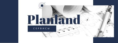 House Plans Blueprints on table in blue Facebook cover – шаблон для дизайна