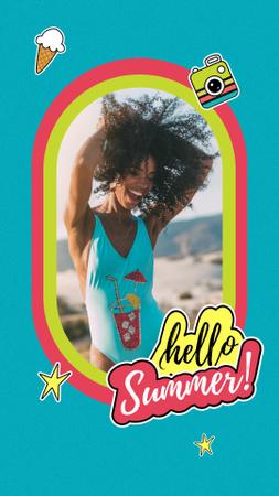 Plantilla de diseño de Summer Inspiration with Happy Girl on Beach Instagram Story