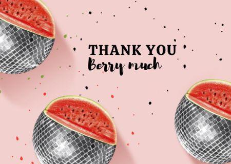 Thankful Phrase with Watermelon Disco Balls Card Modelo de Design