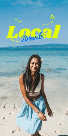 Local Travels Inspiration with Young Woman on Ocean Coast Graphic – шаблон для дизайну